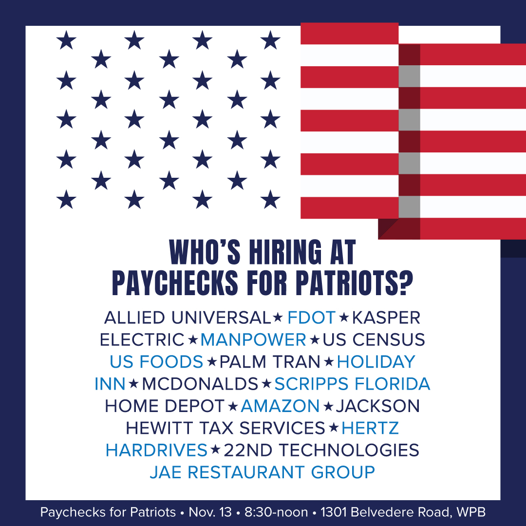 CareerSource Palm Beach County Hosting Paychecks for Patriots Hiring Event for Veterans Nov. 13 as part of Statewide Campaign